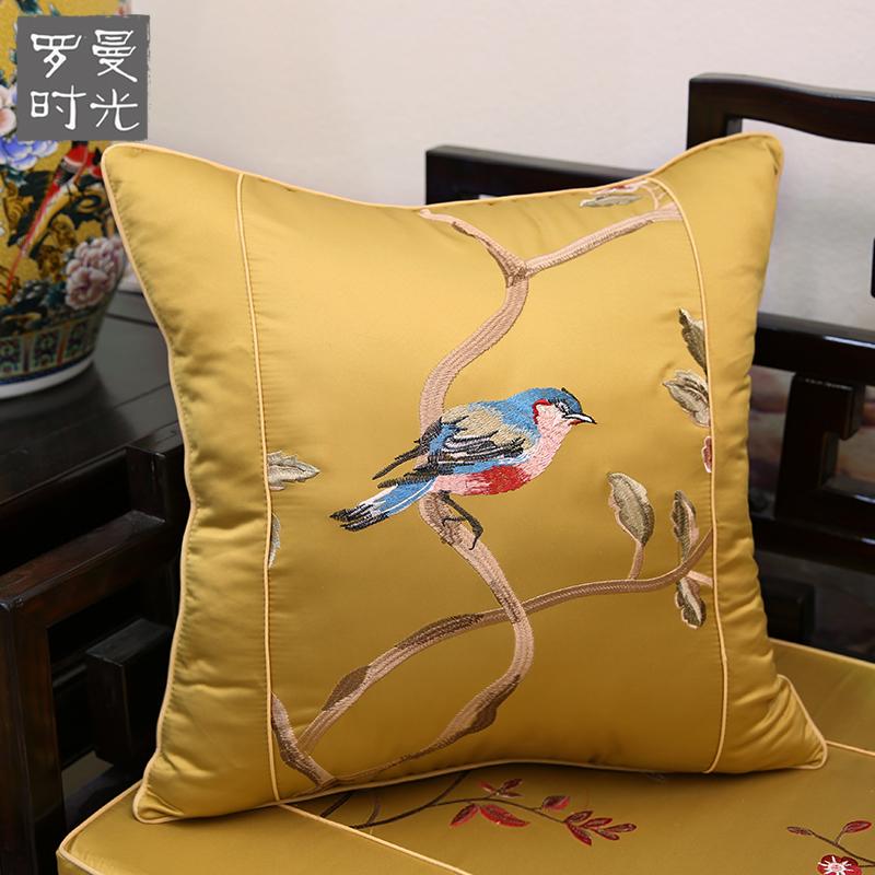 花鸟抱枕红木沙发靠垫仿古圈椅腰靠枕床头靠背大含芯