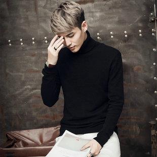 冬季高领纯色套头毛衣男士加肥加大码针织衫韩版青少年线衣潮男装
