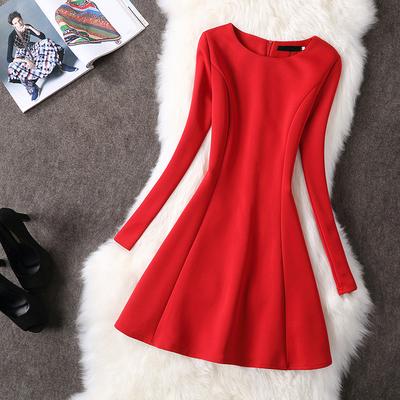 2017秋装新款女韩版礼服裙a字裙气质红色长袖大码连衣裙秋冬加厚