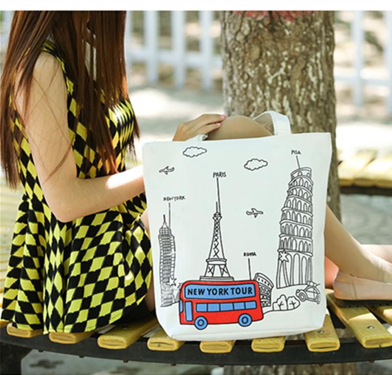女 单肩帆布包手提 大学补习补课袋子 卡通学生包包书包书袋包袋