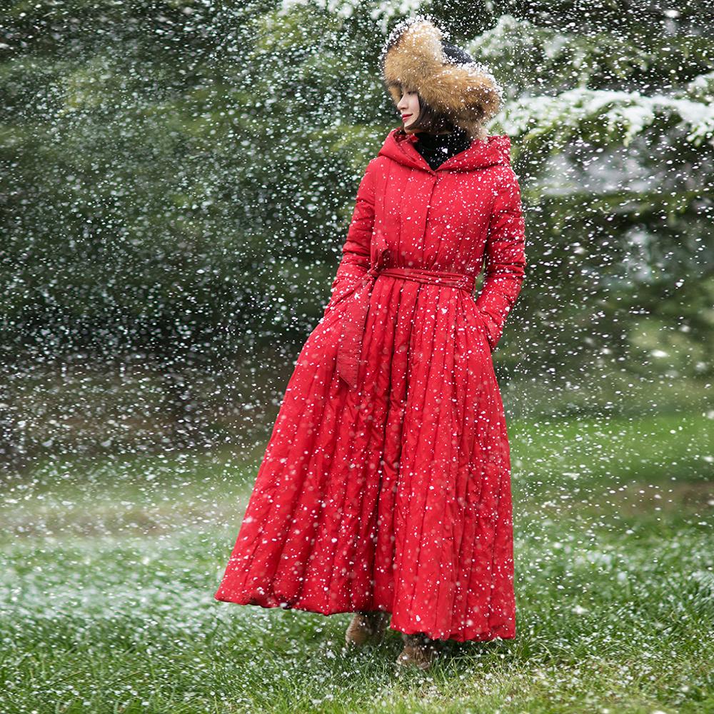 長款憶舊羽絨服寬松腰帶外套加厚冬季女裝過膝棉麻記