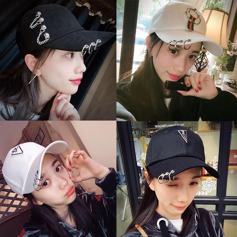 女韩版时尚夏天透气铁环帽子个性情侣鸭舌帽棒球帽