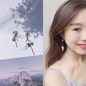 日韩潮流个性甜美丝带锆石几何吊坠耳钉超仙气质长款耳坠耳环R593