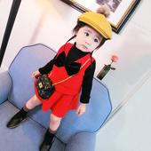 秋装女童套装2017新款韩版儿童宝宝针织马甲背心+毛衣短裙两件套