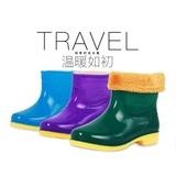 男女士中短筒加绒保暖防滑雨鞋工作雨靴胶鞋橡胶雨鞋牛筋底水鞋