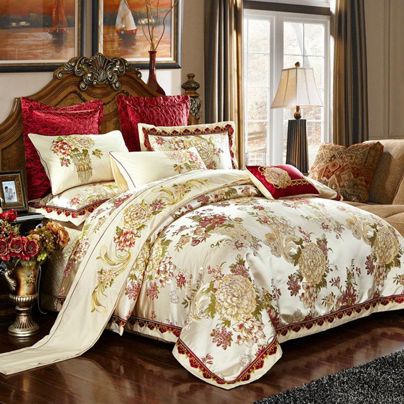 慧梦欧式四件套贡缎刺绣婚庆六件套结婚多件套美式床上用品1.8m床