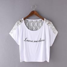 短袖 宽松字母圆领短款 罩衫 2017夏季女装 蕾丝拼接T恤