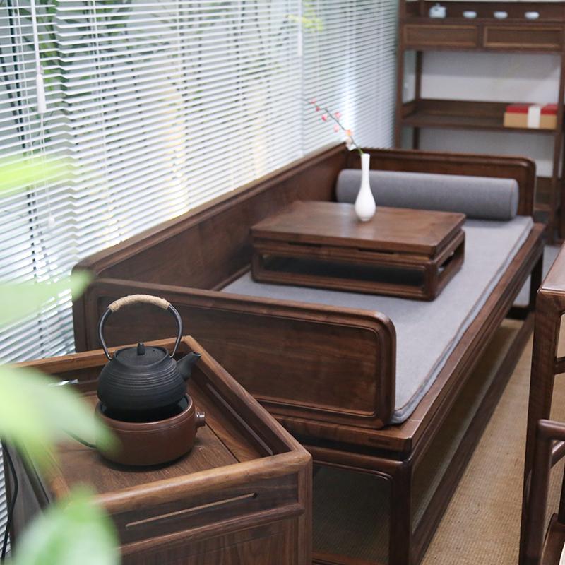 老榆木免漆罗汉床仿古实木沙发床禅意新中式黑胡桃木罗汉椅美人榻