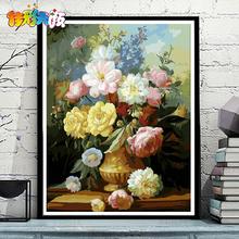饰画 佳彩天颜diy数字油画客厅风景花卉动漫人物填色手工绘油彩装
