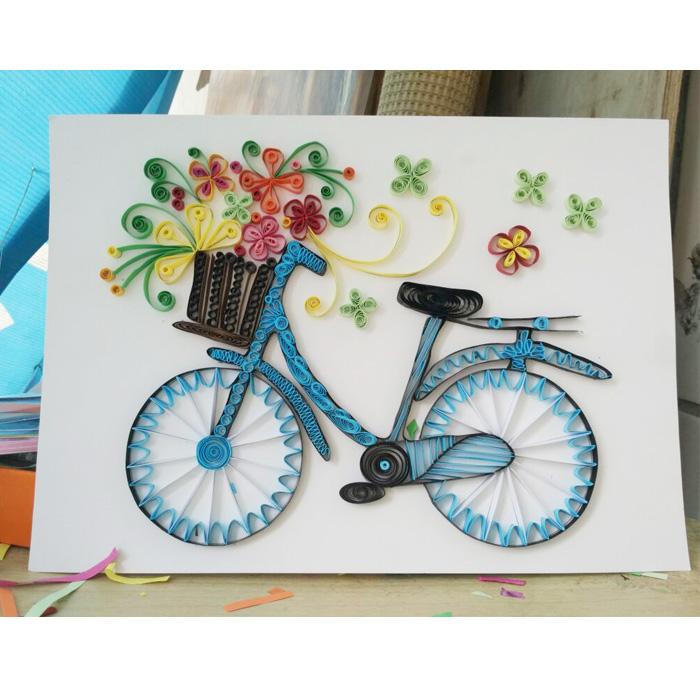 成品衍纸画立体装饰画纯手工拼贴制作流行艺术可爱载花单车自行车