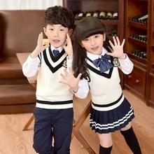 卷卷毛幼儿园园服夏秋款英伦校服男女童毛衣背心套装中小学生班服
