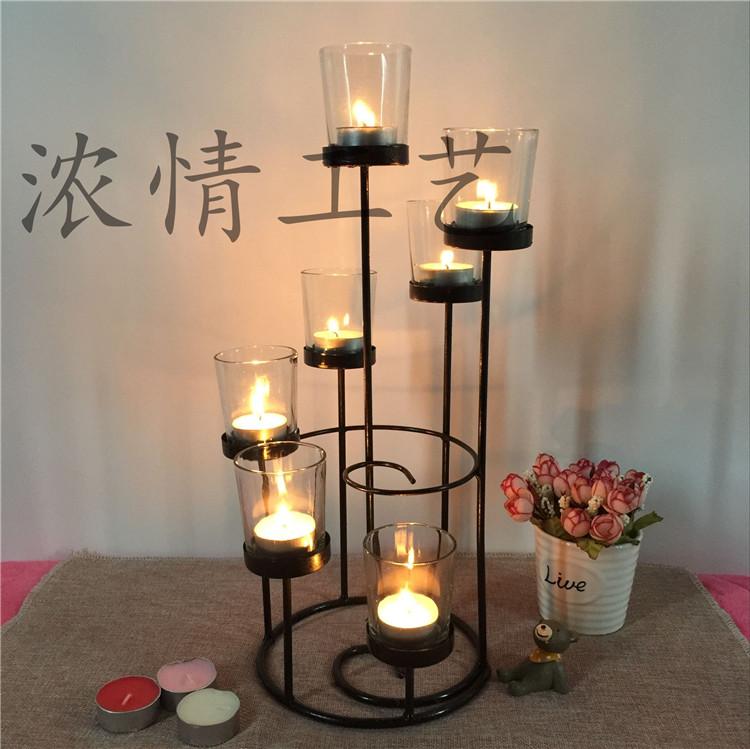 特价浓情工艺欧式铁艺烛光晚餐烛台摆件蜡烛架玻璃品