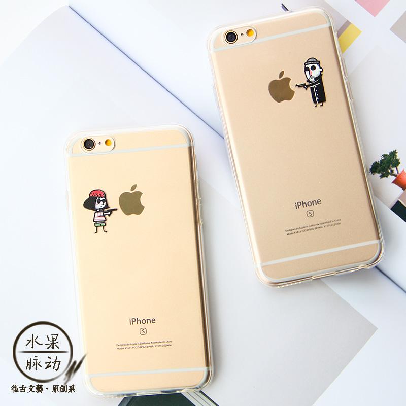 苹果6s iphone6 plus 卡通简笔画情侣手机壳硅胶浮雕创意软保护套