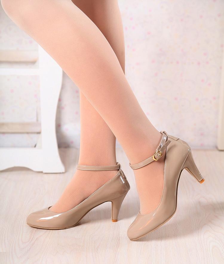 春秋女士细高跟皮鞋学生扣带工作单鞋通勤OL34大小31-33码40-43号