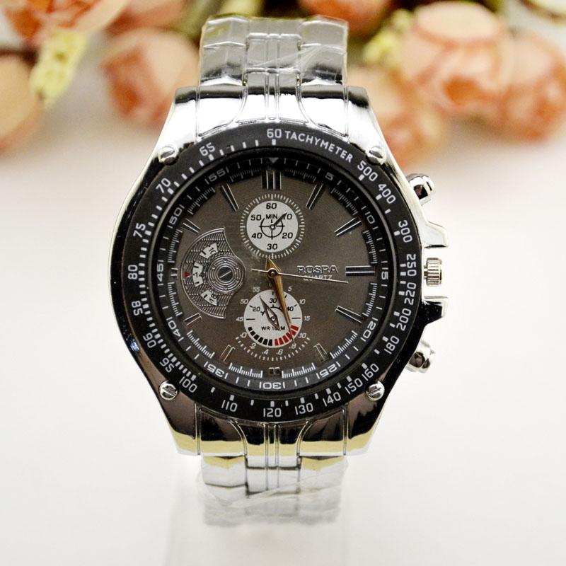 现货爆款畅销三眼六针时尚钢带手表男士厂家直销走量混批JHLF