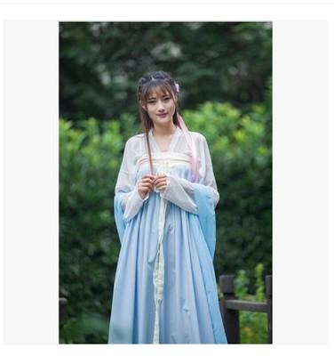 汉服女 古装 古装仙女对襟齐胸襦裙 广袖唐装汉服古筝演出服襦裙