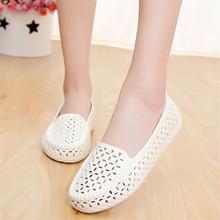 鸟巢镂空洞洞鞋 沙滩鞋 包头鞋 护士工作鞋 夏季浅口白色塑料凉鞋