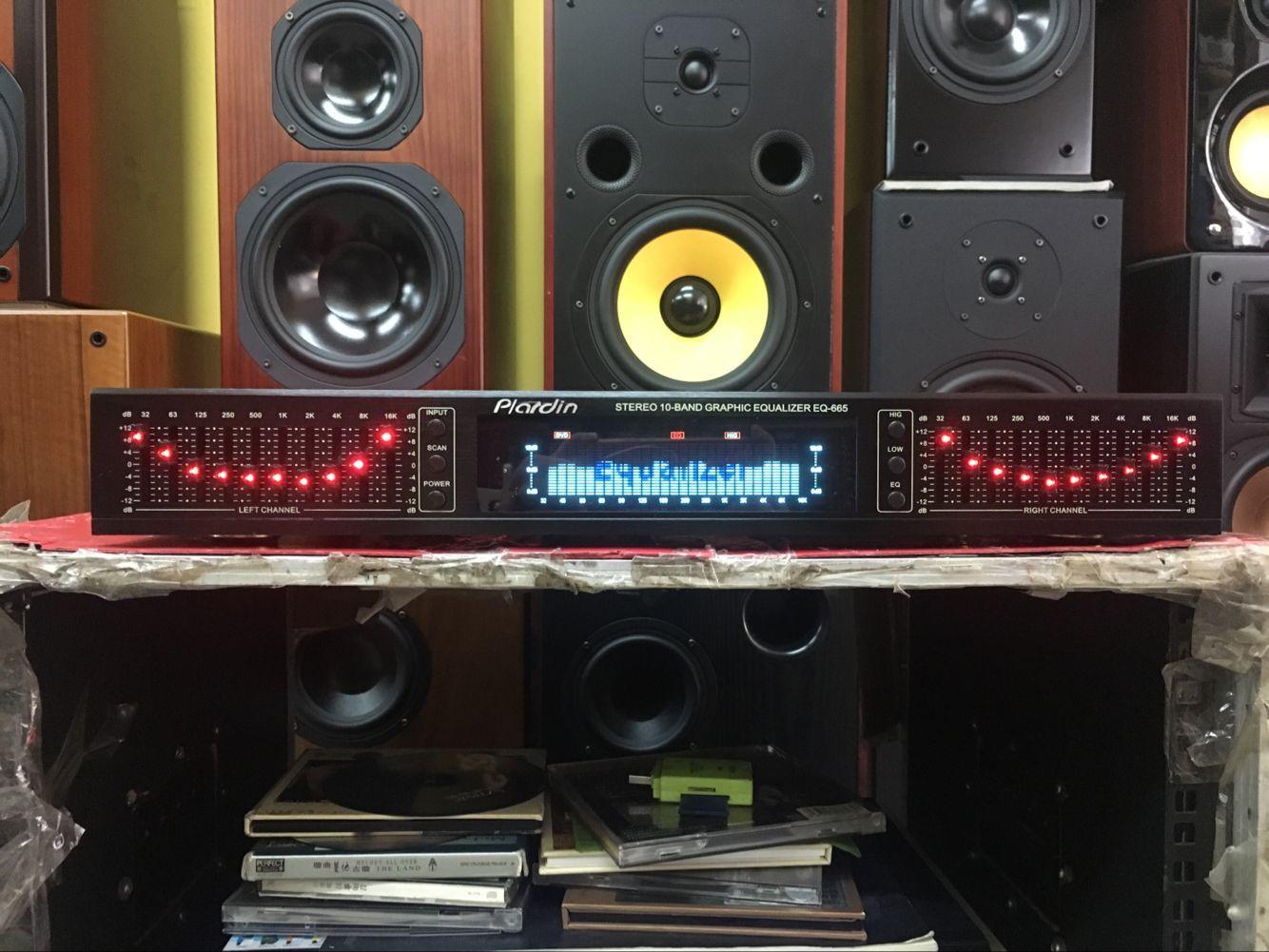 包邮黑色 EQ-665双10段手调显示屏家用均衡器 四路输入均衡效果器