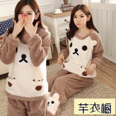 韩版春秋冬季睡衣法兰绒少女甜美可爱卡通熊珊瑚绒家居服长袖套装
