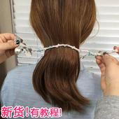 韩国头发饰 发绳珍珠蝴蝶结碎花丸子头盘发器造型工具神器花苞头