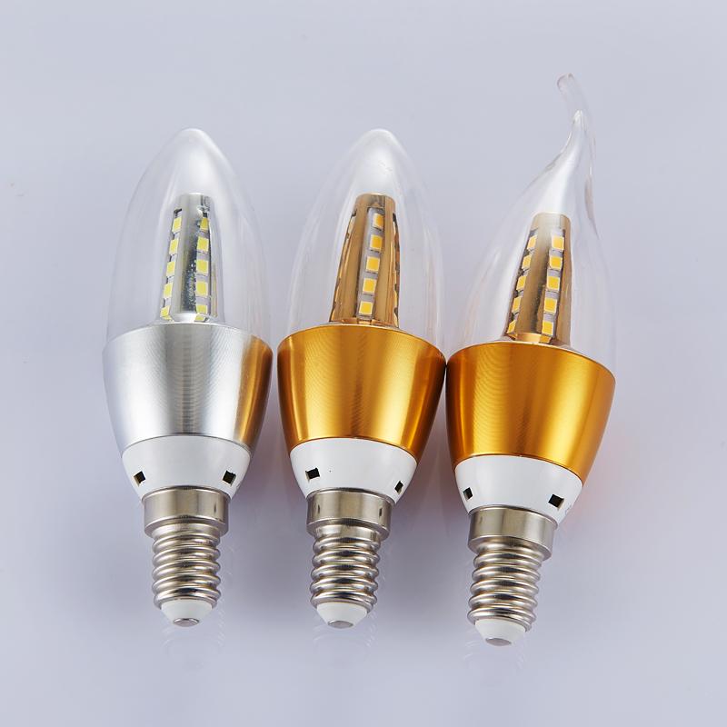 暖黄白led节能灯水晶吊灯灯泡e14螺口5W尖泡拉尾蜡烛灯泡厂家批发