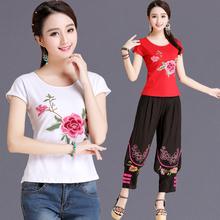 绣花民族风短袖 t恤女 棉圆领打底衫 中国风女装 夏装 上衣 天天特价