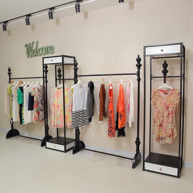 欧式铁艺服装架服装店衣架展示架落地式女装店陈列架复古衣服货架