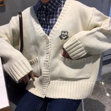 秋装韩国ulzzang刺绣纯色V领长袖针织衫上衣bf学生开衫毛衣外套女