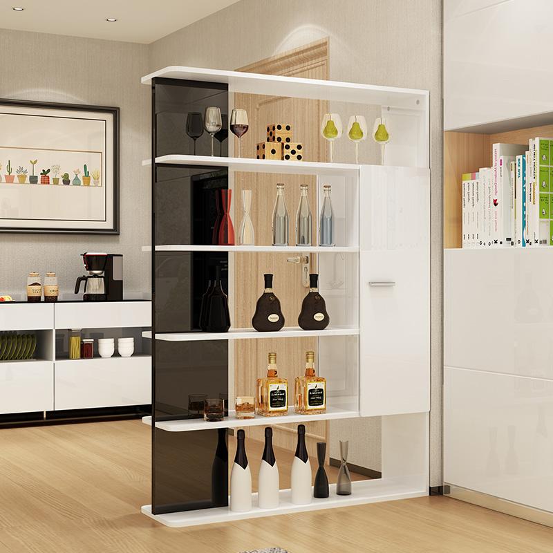简约现代客厅隔断玄关柜白色烤漆间厅柜双面柜创意酒柜门厅装饰柜图片