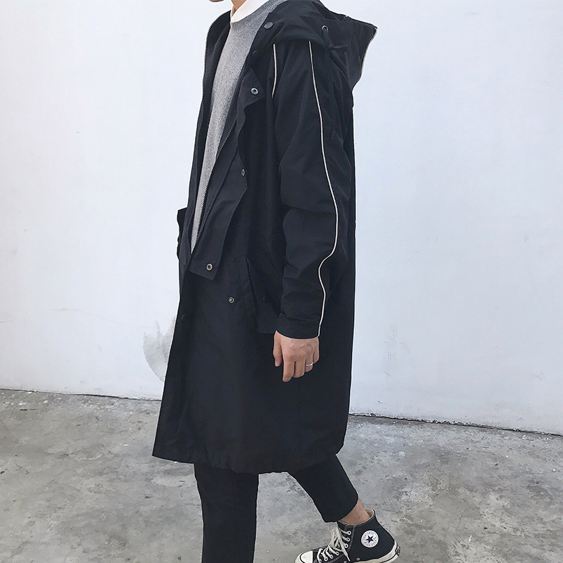 方寸先生 17秋季新款韩版纯色风衣宽松青少年连帽风外套