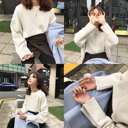 馨帮帮自制2016韩国波浪边圆领宽松甜美可爱针织衫落肩袖百搭毛衣