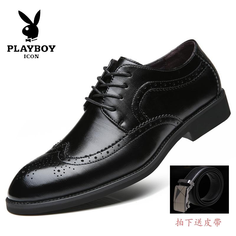花花公子布洛克男鞋春季商务正装男士皮鞋男真皮英伦尖头鞋子男