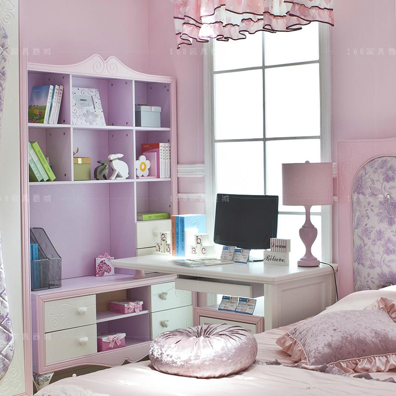 粉红色转角书桌写字台连体书桌书柜写字桌韩式田园白色电脑桌拼色图片