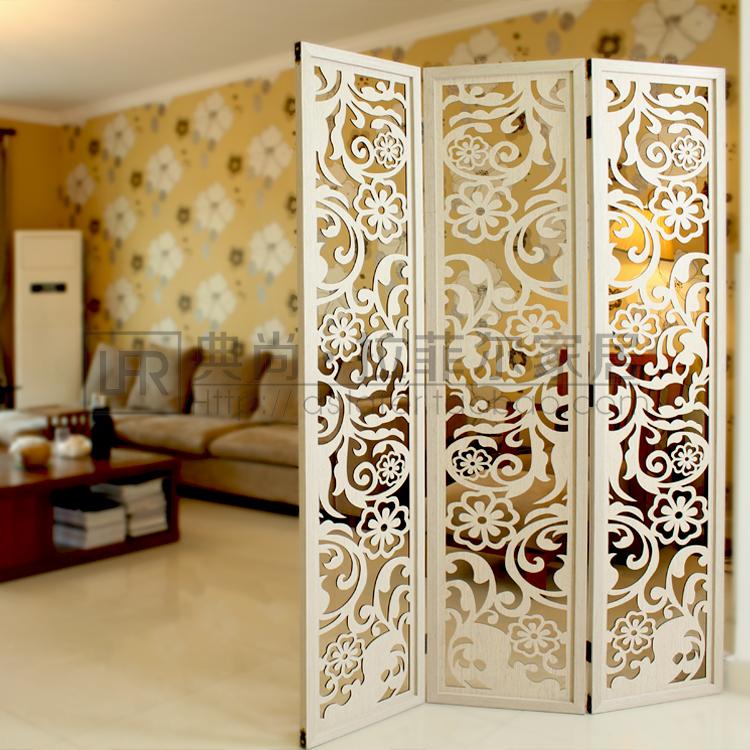 欧式田园折叠木屏风现代简约镂空雕花折屏时尚创意墙