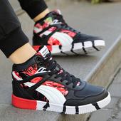 秋季潮鞋男鞋高帮帆布鞋学生高邦板鞋男生韩版鞋子百搭运动休闲鞋