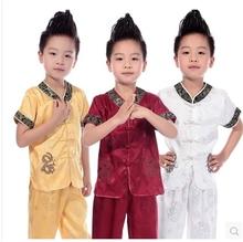 8岁 幼儿园园服0 短袖 小男孩双龙男童演出服男童舞台装 儿童唐装