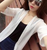 夏季韩版百搭薄款雪纺空调衫中长款开衫披肩大码网纱防晒衣外套女