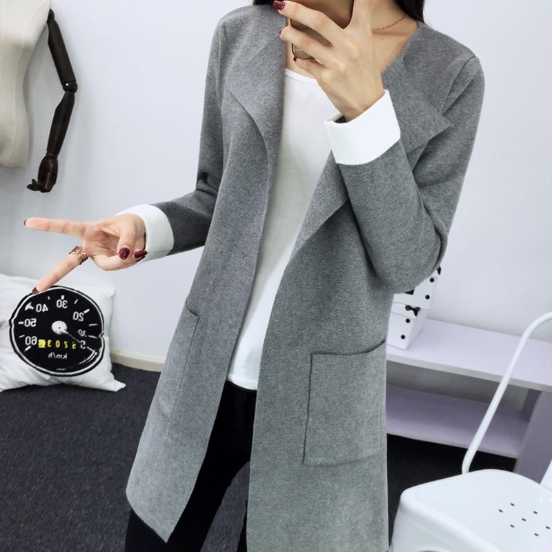 韩版2015秋冬季新品针织衫中长款西装领口袋开衫百搭显瘦女外套潮