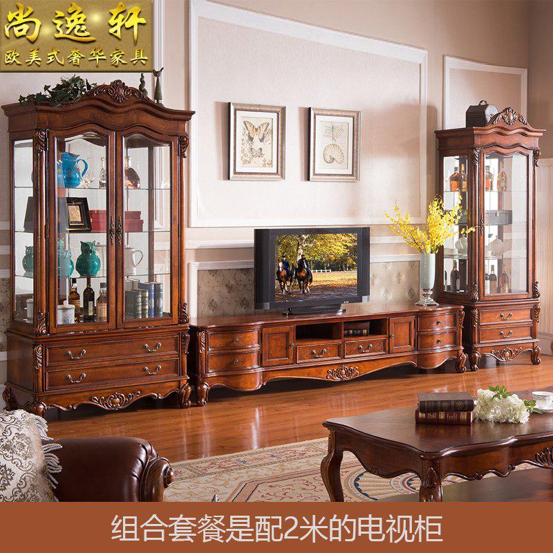 美式电视柜 客厅电视墙柜地柜 欧式电视柜酒柜组合 实木电视机柜