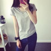 短袖T恤女夏装2016韩版新款V领纯色体恤小衫修身半袖上衣服打底衫