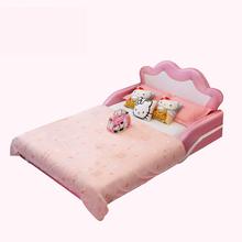 单人个性皇冠儿童床公主床粉色女孩皮艺床1.2米1.5米小孩图片
