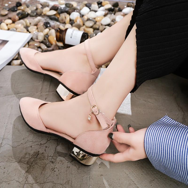 凉鞋女鞋学生罗马百搭潮包头中跟一字带扣粗夏季