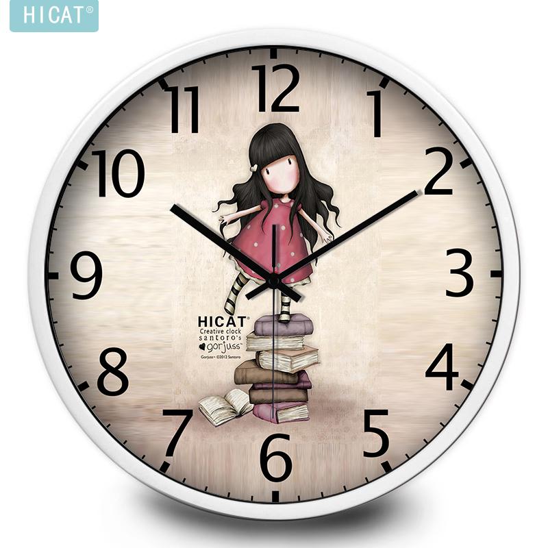HICAT疯小猫卡通小女孩静音挂钟卧室客厅儿童房壁挂创意石英钟表