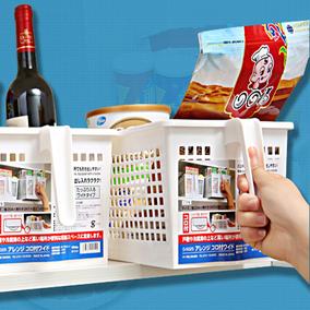 日本进口塑料带把柄橱柜收纳篮子 化妆品收纳筐 杂物储物篮大号