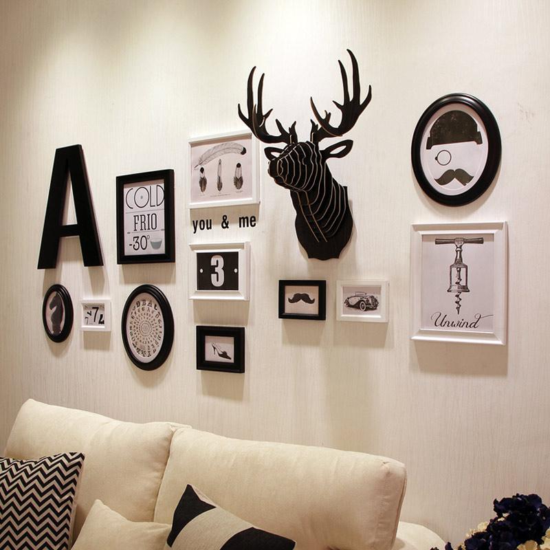 现代欧式实木照片墙相框墙组合独家创意家居个性字母