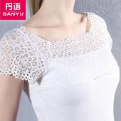 T恤性感露肩上衣女潮 莫代尔蕾丝拼接一字领短袖 新款 丹语2016夏装