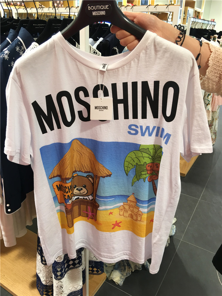 意大利折扣村代购BoutiqueMOSCHINO莫斯奇诺沙滩风情T恤T1912