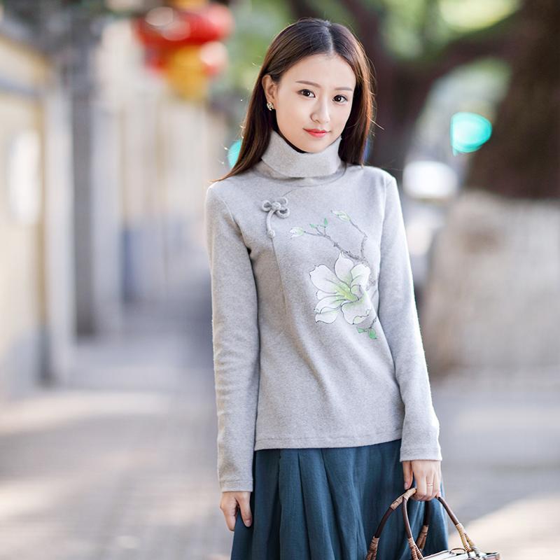 伶俐柠檬原创设计20723复古中国风女装民族风手绘文艺范衬衫预售