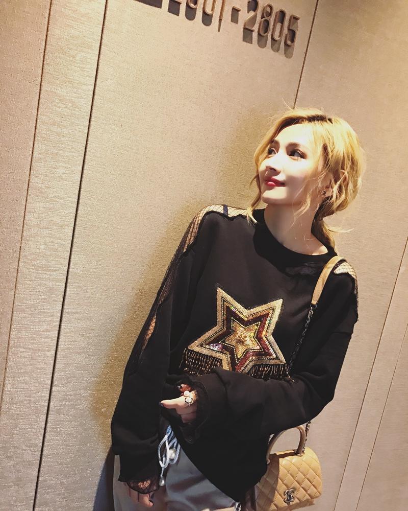 五角星镂空自制流苏巴掌卫衣女短款春季时髦