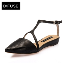 St&Sat/星期六新款蛇纹牛皮脚踝带低跟搭扣女鞋凉鞋DF51113052图片